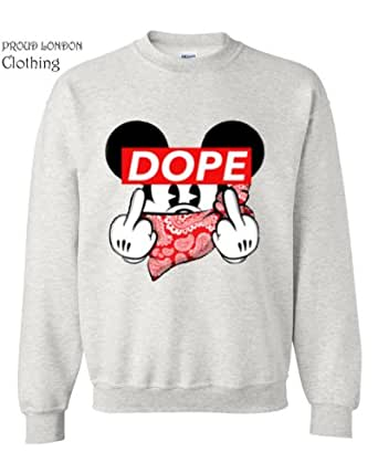 NEW UNISEX MICKEY DOPE FINGER MOUSE SWEATER TRILL ODD DIS OBEY FUTURE SWEATSHIRT HANDS SWAG (Small)
