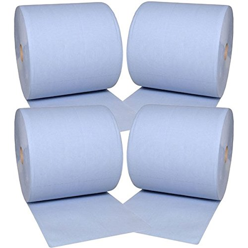 4x Putztuchrolle Papier Putztuch Papiertuch Rolle blau 2 lagig 36x36 cm