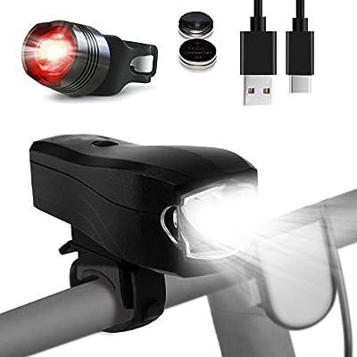 LED Fahrradbeleuchtung, CHIZEA USB Wiederaufladbare LED Set Rücklicht enthalten, 350 Lumen CREE LED 2000mAh Li Akku Wasserdicht Fahrradlicht, mit Power Display Lichtsensor