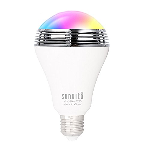 Sunvito Bombilla de LED Inteligente con Bluetooth 4.0 Altavoz,Playbulb de Música LED E27 Bombilla de luz LED RGB Regulable para Decoración Lluminación Aplicación Gratuita para iOS Android Smartphone