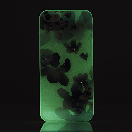 Apple iPhone SE/5S/5 Case Silicone - Felfy Ultrathin Slim Soft Gel Mode Silicone Lichtdurchlässig TPU Peinture Rose Motif Fleur de Diamant de Bling Glitter étincelle Strass Cristal Creative design écl #28