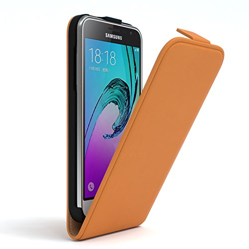 Samsung Galaxy J3 Hülle - EAZY CASE Premium Flip Case Handyhülle - Schutzhülle aus Leder zum Aufklappen in Rosa Orange