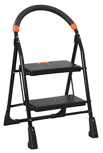 Saimani Cameo Pro 2 steps Folding step Ladder with Load Capacity upto 150 kg with Anti-Skid PVC Shoe , Clutch Lock & Knee Guard which provide perfect Balancing & safety wihle Climbing ( With 10 Years Warranty )