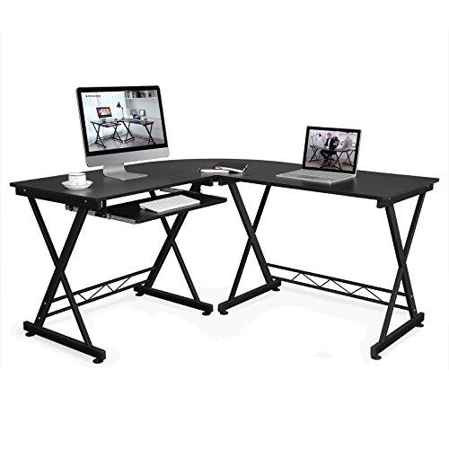 Songmics scrivania per scrivania ufficio computer scaffale ripiani computer desk ripiano tastiera tavolo per computer, 150 x 138 x 75 cm, nero, lcd402b