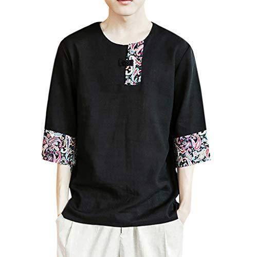 Herren Sommer Kurzarm Shirt Hemd Tops Eaylis ManschettenknöPfe Aus Baumwolle Im Chinesischen Stil