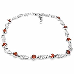 100% Genuine Nature Garnet 18K White Gold Plated 925 Sterling Silver Bracelet Fine Jewelry