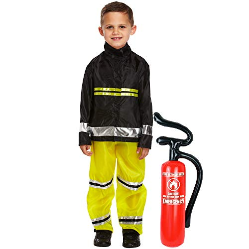 Lizzy® Kids Fireman Fancy Dress Costume Full Set | Fire Fighter Kids Fancy Dress Accessory Set for World Book Day Outfit | Children