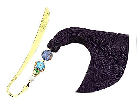 Marqueurs en métal rétro de style chinois avec des glands soyeux Cadeaux créatifs Couleur foncée