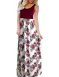 c8ec8ca39a738 Sommerkleid Damen Gestreift Lange Boho Kleid