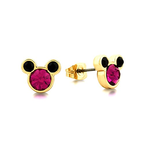 Disney Couture Minnie Mickey Mouse oro & rosa cristal Stud Pendientes
