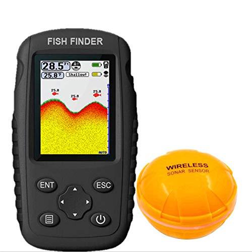 JSX Tragbarer Fish Finder 0,6-36 m LCD-Monitor, Wiederaufladbarer, wasserdichter, drahtloser Fishfinder-Sensor für das Kajakfischen auf dem Eissee-Seeboot -
