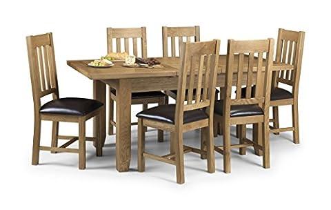 Julian Bowen Astoria Oak Extending Dining Table Set with 4 Chairs, Light Oak