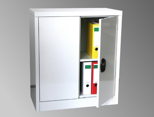Stahlschrank 90x80x40 cm, 2 Böden, Drehverschluss, (RAL7035) lichtgrau (Ordnerschrank Büroschrank Werkzeugschrank Metallschrank)