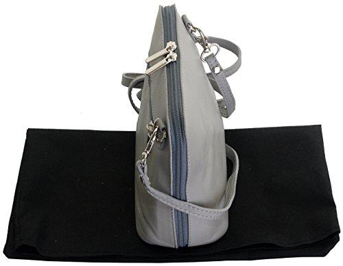 Italiano in morbida pelle, piccole/Micro croce corpo borsa o borsetta borsa a tracolla.Include una custodia protettiva. Grigio chiaro
