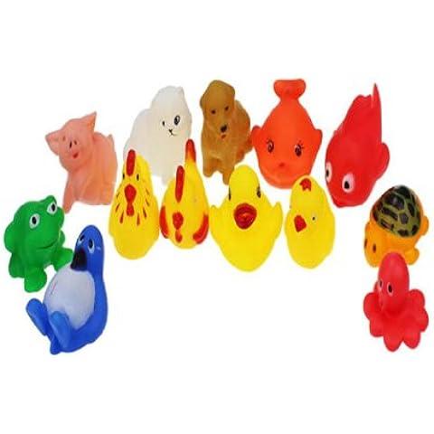 Fortan Un dozzina 13pcs Gomma animali con suono Baby Shower Party Favors giocattolo