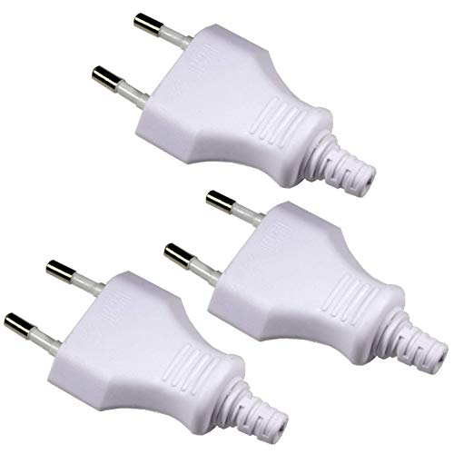 Europa-Stecker Kunststoff weiß, max. 250V/2,5A - 3er Pack 5a Pack