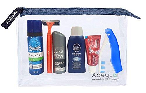 Trousse de toilette Avion Homme // Travel Kit // Trousse de voyage Avion // Idéal valise cabine // Conforme normes aéroportuaires
