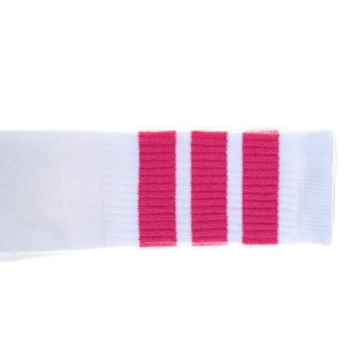 Zoll Knie High White Tube Socken mit Pink Stripes (Kostüme Der 1970er Jahre)