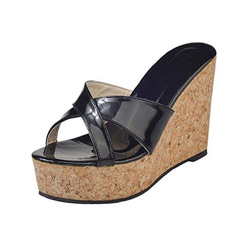 Somesun sandali col tacco da donna moda massaggio estivo traspirante scarpa flatform scarpa donna in morbida pelle con punta aperta e plateau ciabatte infradito impermeabili (eu37/cn38, nero-1)