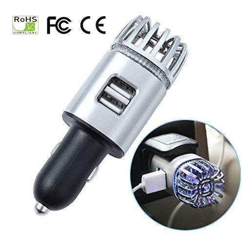 EFORCAR Ionic Auto Luftreiniger Ionisator Auto Lufterfrischer mit Blauem LED-Licht und 2 USB-Anschlüsse Anschlüsse entfernen Rauch Bad Smell Geruch