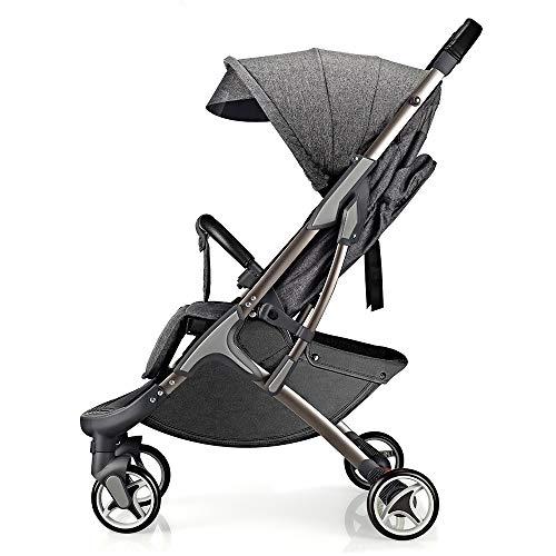 Hot Mom leichtgewichter Kinderwagen Buggy leicht Sitzbuggys für Reise geeignet, 2020 Neue verbesserte Version mit extra großem Anti-UV Sonnenverdeck und Fußsack