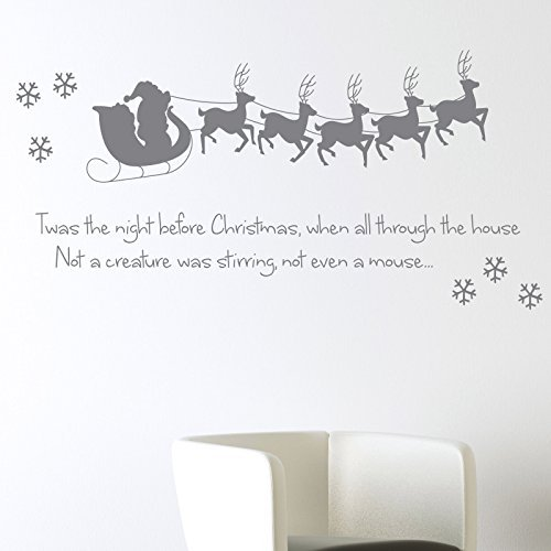twas-the-night-before-christmas-wall-sticker-xmas-art-decal-decoration-santa-reindeer-snowflake