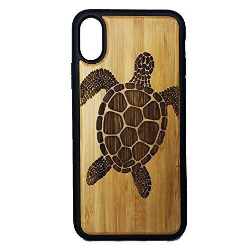 ülle für iPhone XR, Motiv: Meeresschildkröte, Tribal Tattoo Ocean Sea Hawaiian Honu - umweltfreundliches Bambusholz + TPU ummantelte Kanten Handy Cover ()