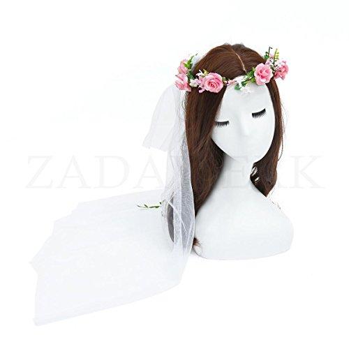 ZADAWERK - Blumenkranz - mit weißem Schleier - -