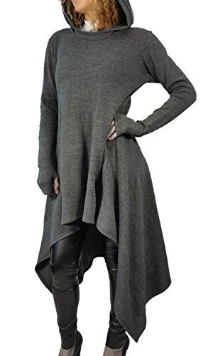 Minetom Damen Hoodies Pullover Unregelmäßige Strick Hoodies Oversize Langarm Pullikleid Longshirt Top Minikleid Grau DE 36