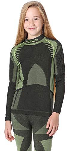 Ladeheid Kinder Mädchen Jungen Thermoaktives Langarm Shirt LASS0008 (Schwarz/Grün, 158-164)