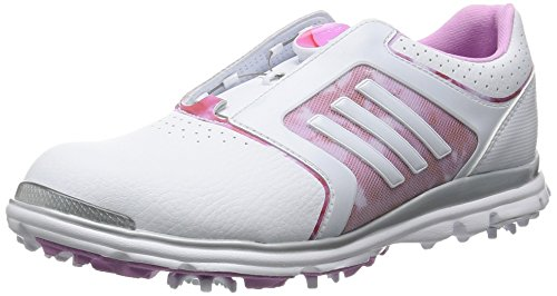 adidas W Adistar Tour Boa - Zapatos de golf para mujer, color blanco / rosa, talla 40.6