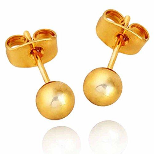18K Gold ¨¹berzogene Yazilind Charming Beitrag Kugelgelenk wieder Ohrringe 5mm Frauen -Geschenk-Idee