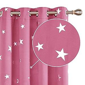 Deconovo Vorhang Kinderzimmer Blickdicht Gardinen Vorhänge Verdunkelung Verdunkelungsgardinen Ösen Sterne 229x117 cm Rosa 2er Set