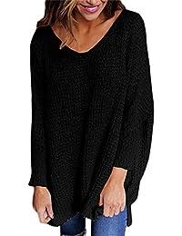 97e87646f026 Elsa Steen - Damen Oversize Long-Pullover, Shirt im Grobstrick-Look, XS