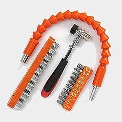 Tournevis flexible avec tige souple, avec clé à cliquet à double usage, 10 têtes de tournevis et 9 manchons universels polyvalents pour réparation de tournevis électriques.