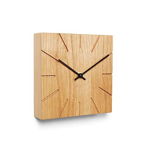 Natuhr Wanduhr Tischuhr Eiche Holz - Beam - geräuscharm Massivholz Design 17 x 17 cm (Eiche geölt Schwarze Zeiger, Quarzuhrwerk)