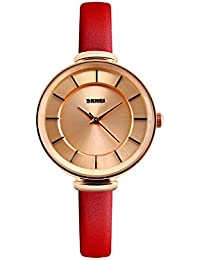 Naivo Women's Quartz Stainless Steel and Leather Casual, Color:Red (Model: WATCH-1131)
