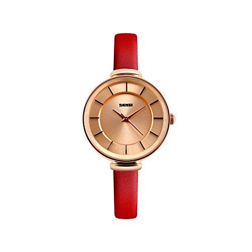 iWatch Damen Armbanduhr Elegant 30m Wasserdicht Analog Quarz Uhr mit Gold Zifferblatt und Rot Leder Armband