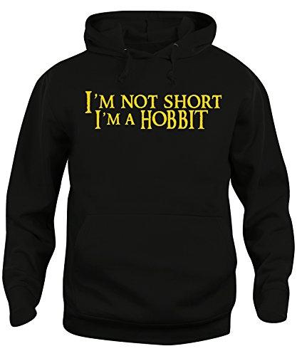 iMage Felpa Cappuccio Unisex Non Sono Basso Sono Un Hobbit Parodia Signore Degli Anelli - Divertenti Nera