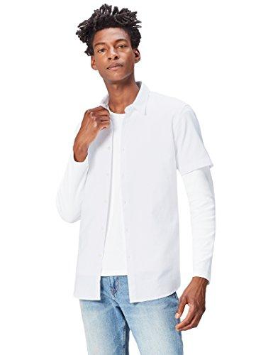 FIND Camisa de Manga Corta Clásica para Hombre, Blanco (White), X-Large