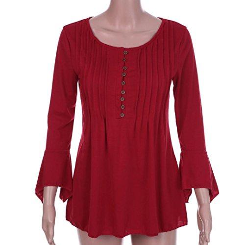 Vêtements LILICAT Womenswear Automne Mode V-cou Flare manches 3/4 Slim V-col chemisier chemise chemisier grande taille T-shirt S-5XL Wine