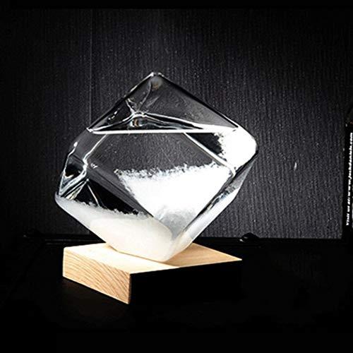 Kristall Wettervorhersage Flasche Sturm Glas Flüssigkeit Holz Basis Ornament Holzfarbe & klar -