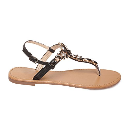 La Modeuse - Sandales plates type nu-pieds avec bride ajustable au niveau de la cheville Noir
