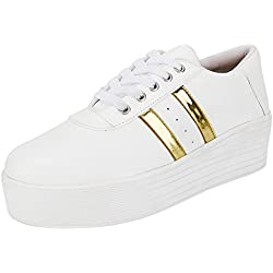 Ethics Perfect Stylish White Gold Sneaker Shoes for Women (8)