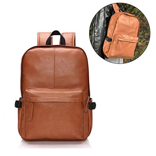 Viaggi Zaino Borsa a Tracolla, OURBAG Zaino in Pelle PU Esterni Scuola Zaino fit 15.6' Laptop Backpack per Uomo e Donna (Caffè)