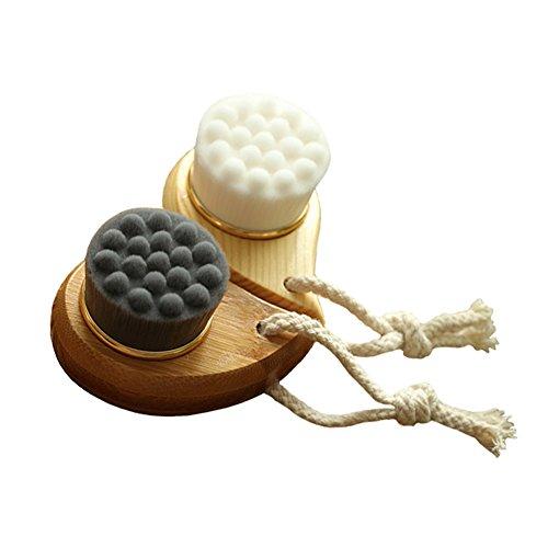 Drizzle Charbon de bambou à poils doux Brosse pour le visage pour nettoyage en profondeur des pores en douceur Beauté du visage Outil de brosse pour soins de la peau (lot de 2)