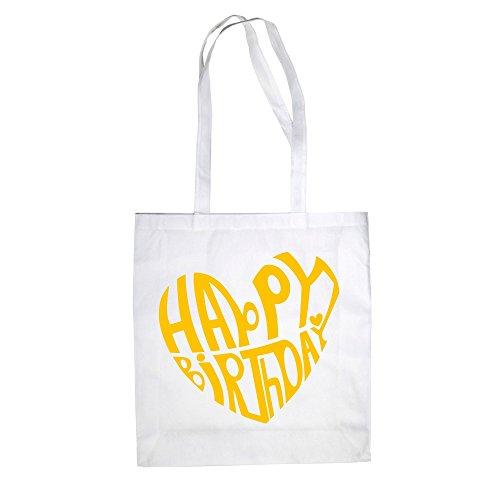 Happy Birthday Design - Baumwolltasche Jutebeutel weiss-gelb