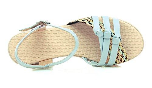 Toe Sandali Uh Compensato Donne Confortevole Delle Talloni Con Piattaforma Per Open Cinturino Della Caviglia Blu Giorno Alla Morbido E 0n05qgrxw