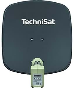 TechniSat DIGIDISH 45 Satellitenschüssel, 45 cm Sat-Anlage mit Wandhalterung und Universal Twin-LNB (Zwei Teilnehmer) grau