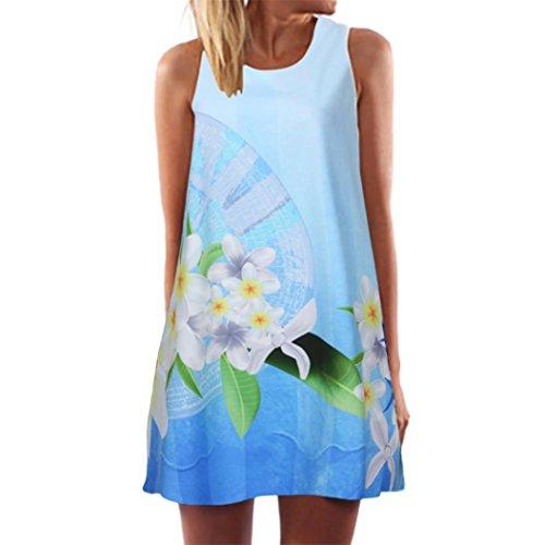 VJGOAL Damen Kleid, Damen Sommer Vintage Boho ärmelloses Strand gedruckt Kurze Mini Party Kleid Frau Geschenk (S / 38, Hellblau) (Jahre Kostüm 1940er)